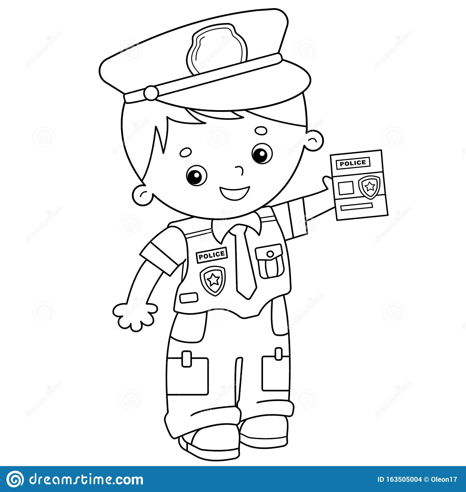 - Coloring Page Outline Of Cartoon Policeman. Profession - Police
