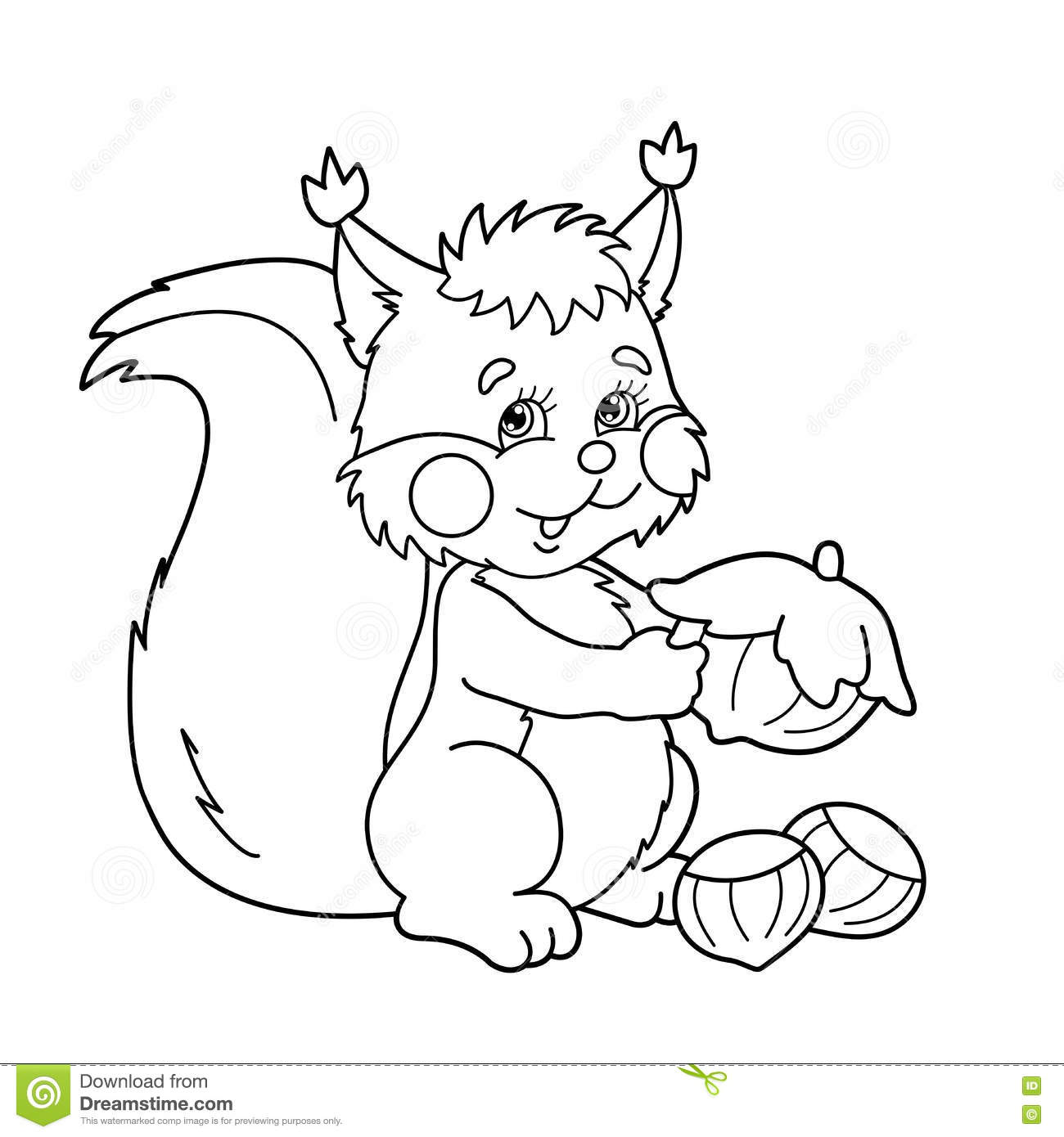Coloring Page Outline Of Cartoon Squirrel With Nuts Coloring Bo