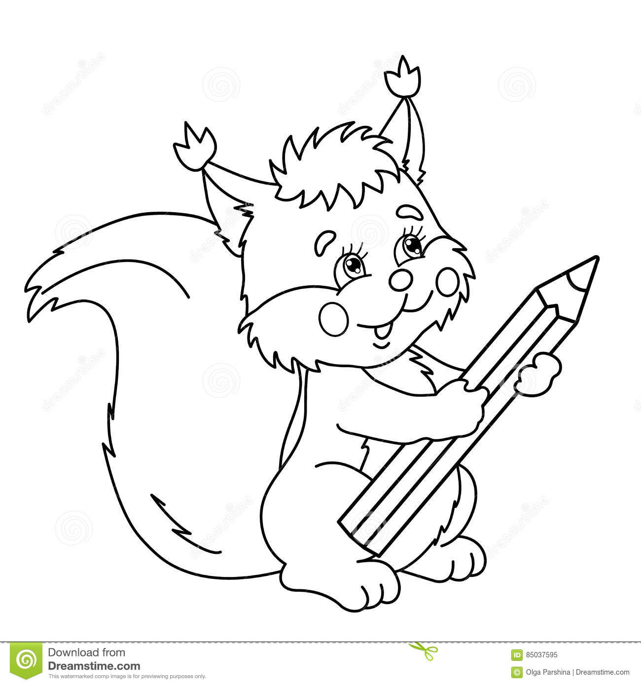 coloring page outline of cartoon squirrel with pencil stock