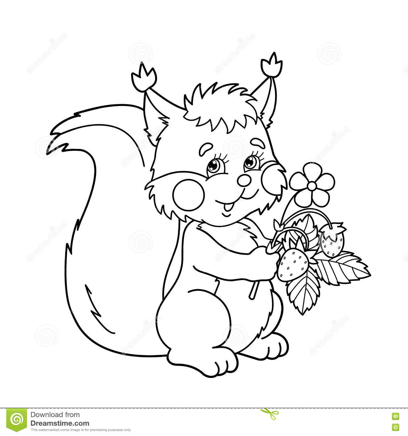 coloring page outline of cartoon squirrel with strawberries