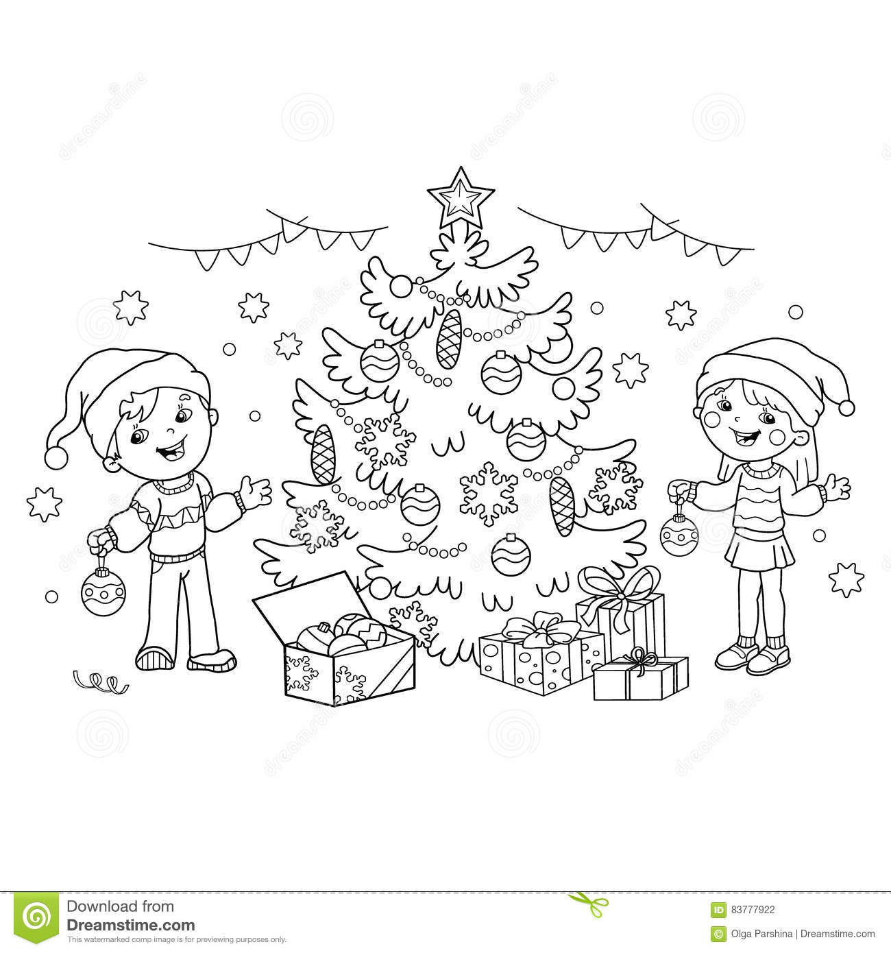 Coloring Page Outline Of Children Decorate The Christmas Tree With ...