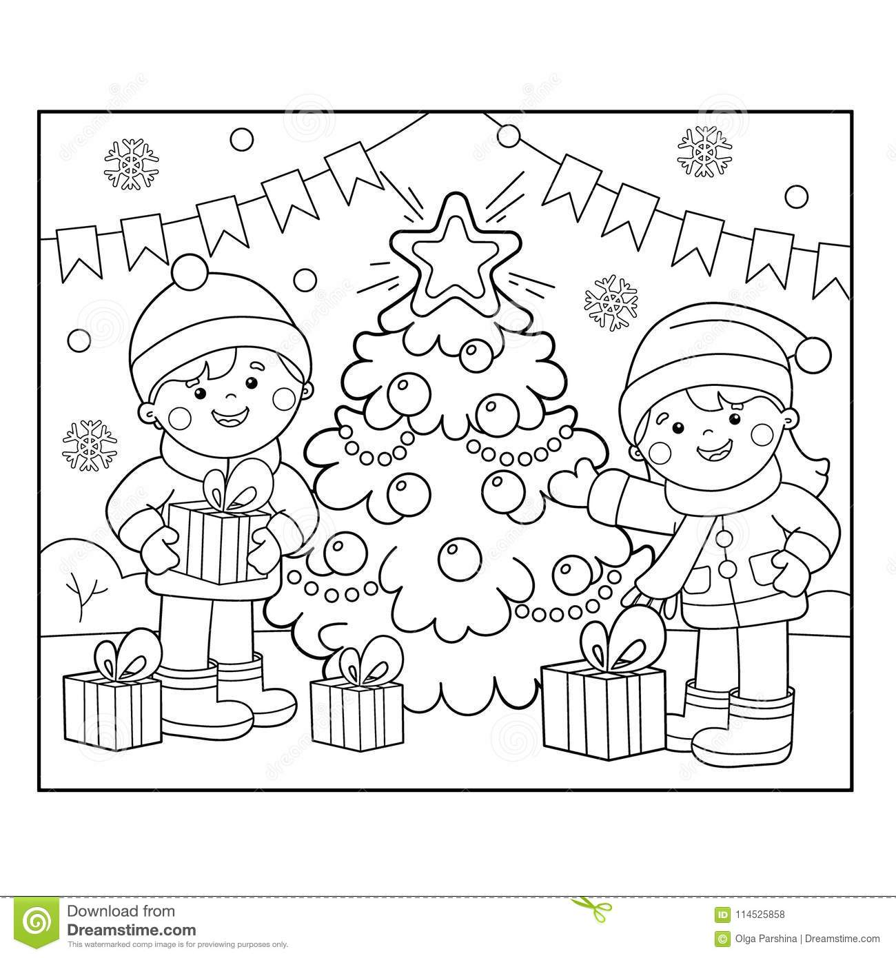 Coloring Page Outline Of Children With Gifts At Christmas Tree ...