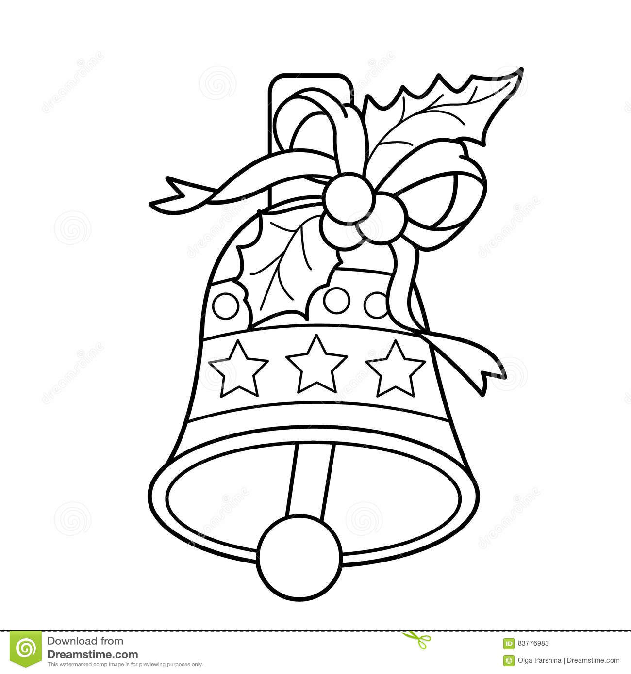 Download Coloring Page Outline Of Christmas Bell New Year Book For