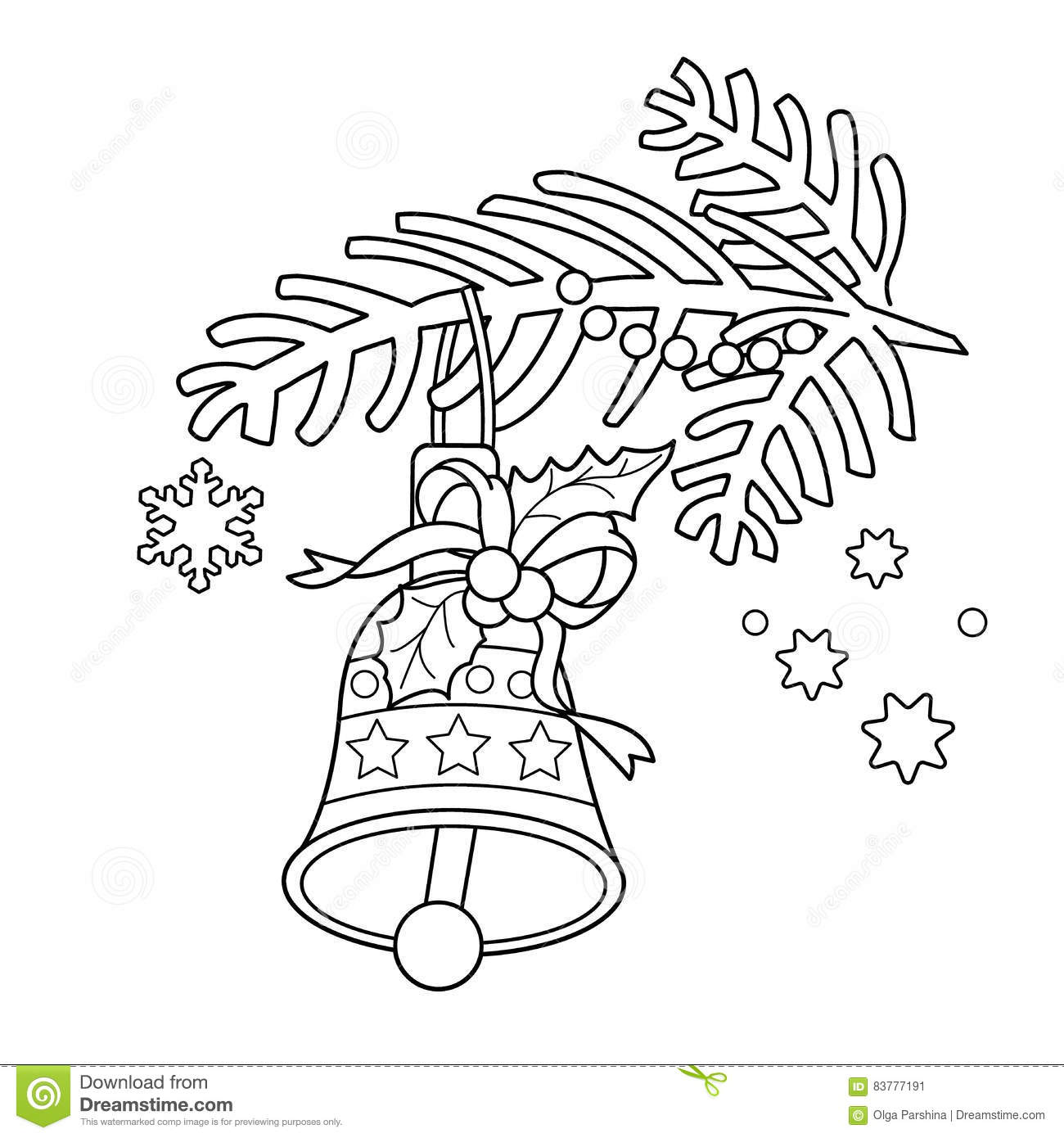 Coloring pages tree branch ~ Coloring Page Outline Of Christmas Bell. Christmas Tree ...