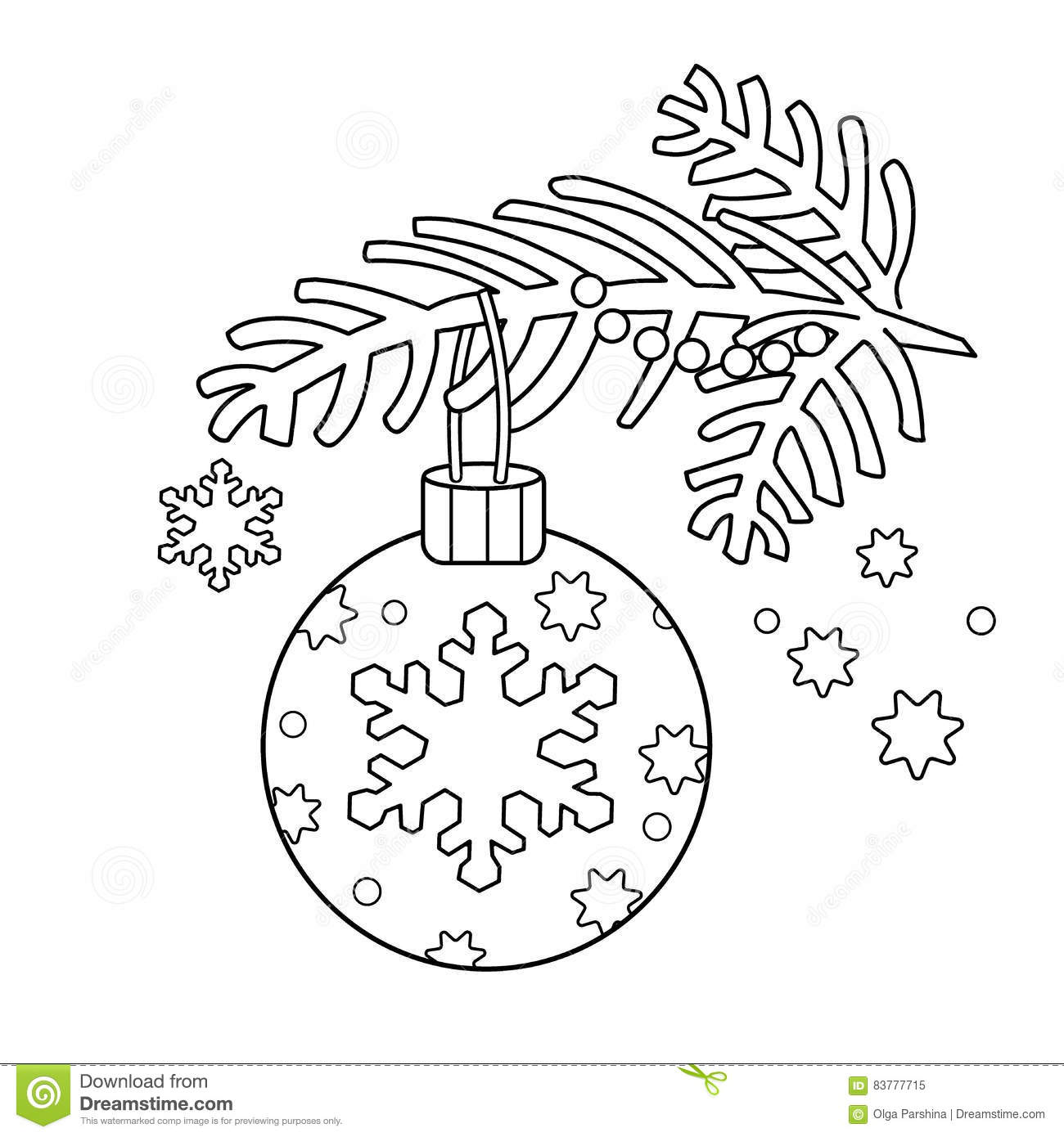 coloring page outline of christmas decoration christmas tree