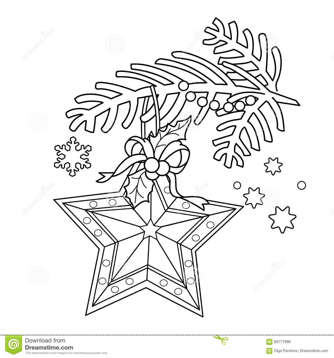 coloring page outline christmas decoration star christmas tree branch new year coloring book kids