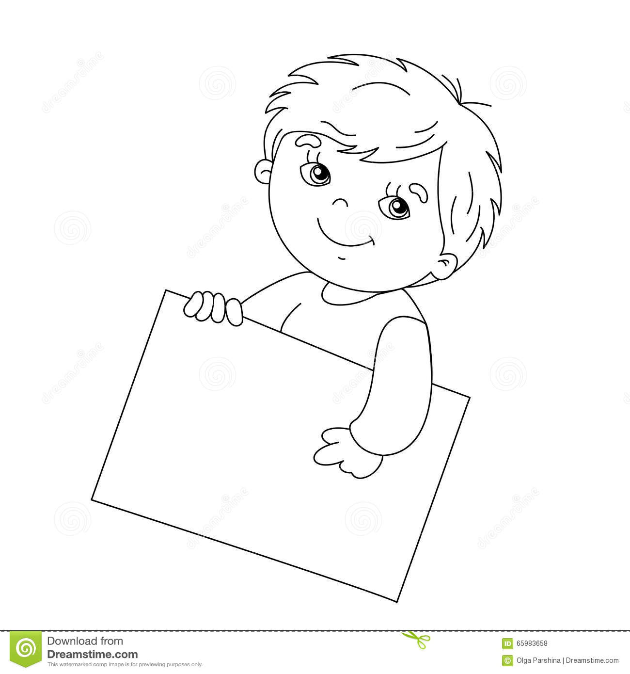 Coloring page outline of cute boy holding a sign stock for Outline of a boy and girl coloring pages