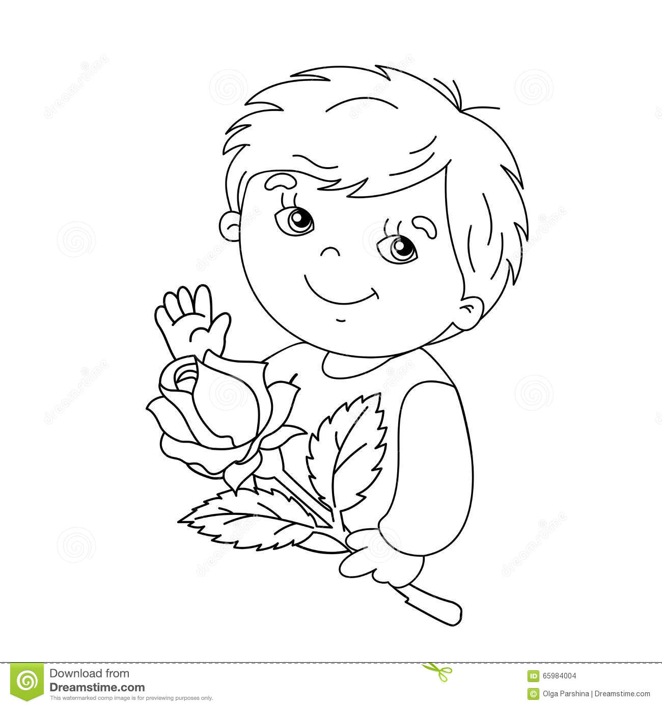 Coloring Page Outline Of Cute Boy With Rose In Hand