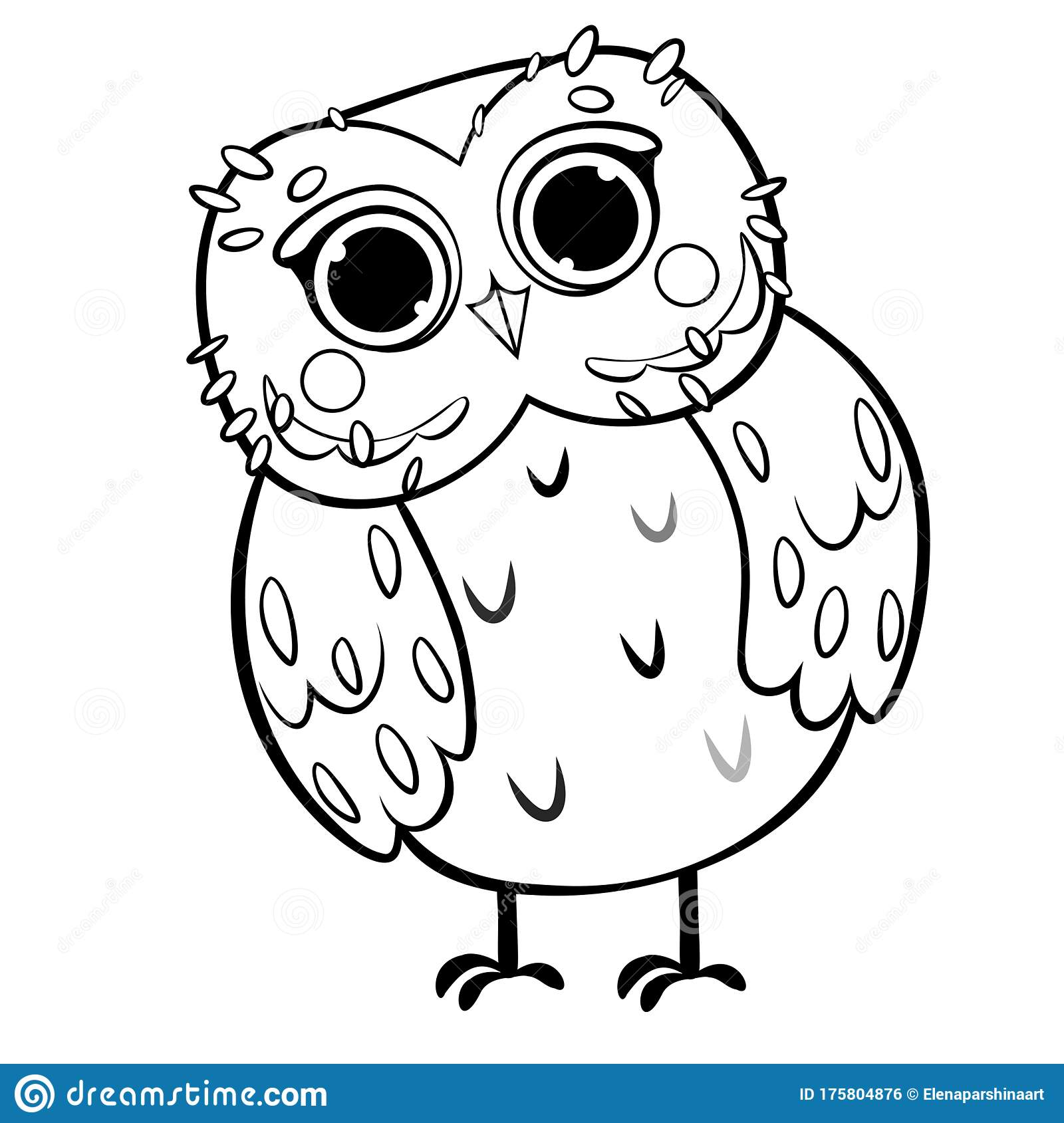 Coloring Page Outline Of Cute Cartoon Owl. Vector Image ...