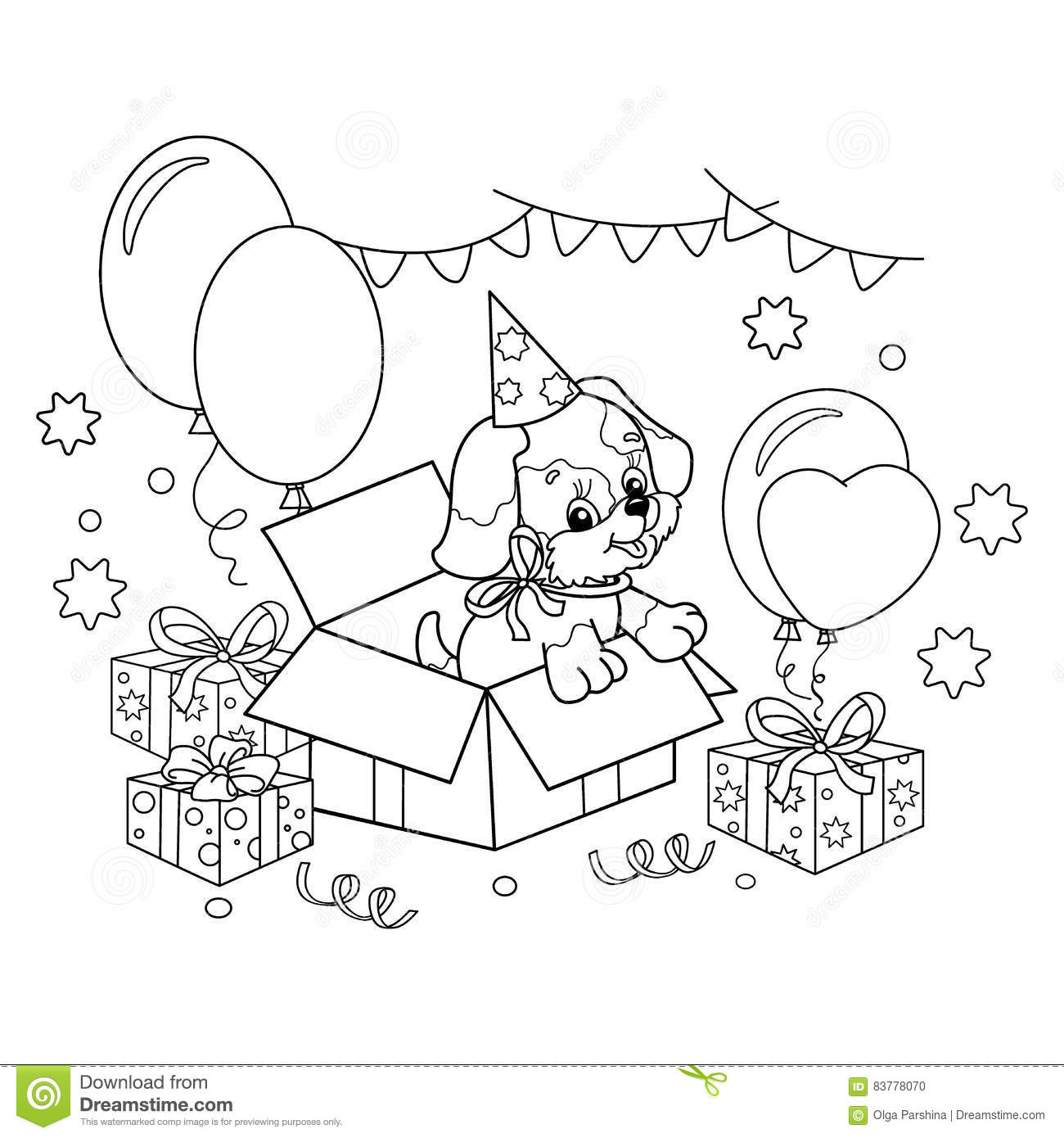Coloring Page Outline Of Cute Puppy Cartoon Dog With Bow