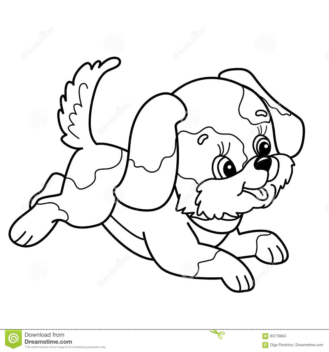 Coloring Page Outline Of Cute Puppy. Cartoon Joyful Dog Jumping ...