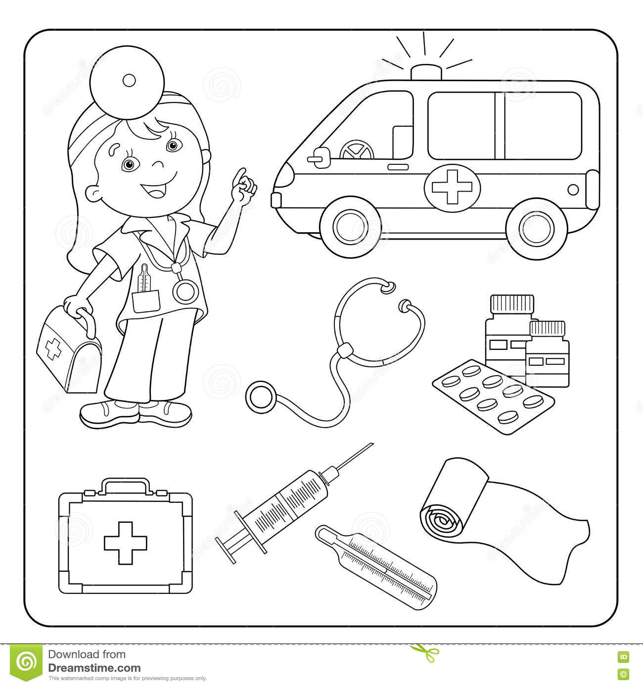 coloring page outline of doctor set of medical instruments stock