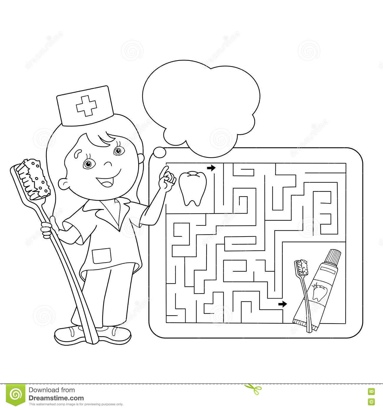 coloring page outline of doctor with toothbrush and toothpaste