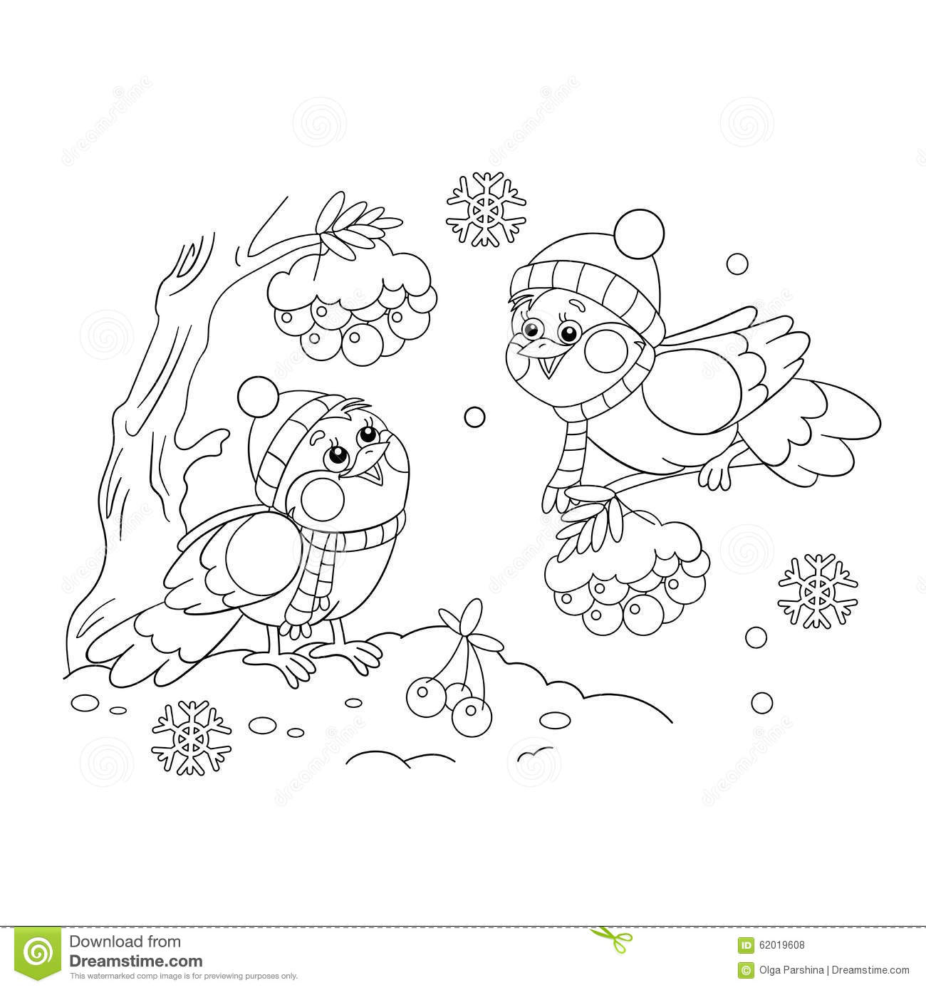 Coloring Page Outline Of Funny Birds In Winter Stock Vector ...