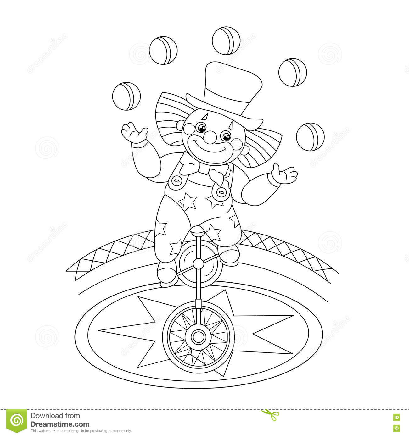 coloring page outline of juggling the balls stock vector