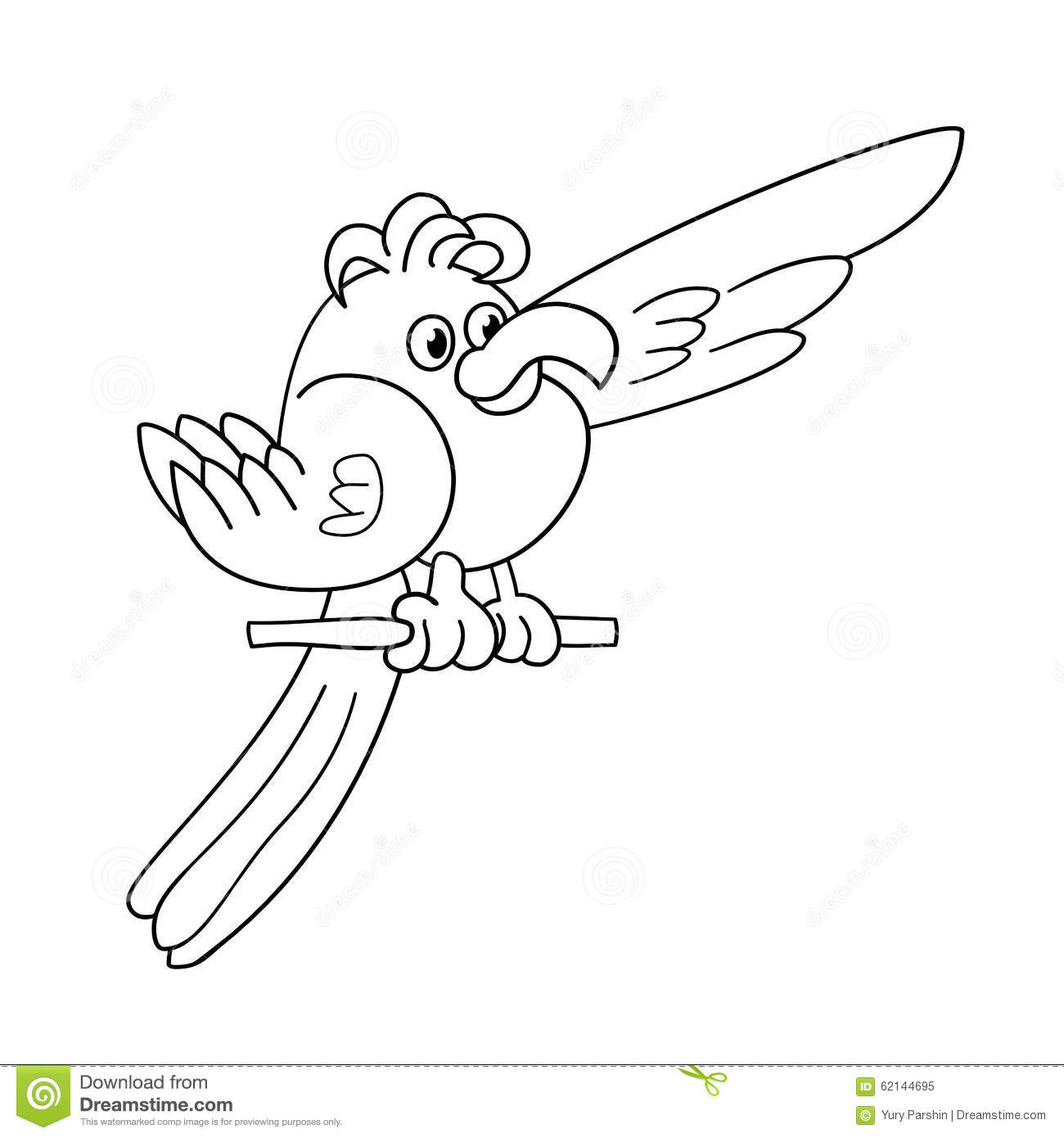 coloring page outline of funny parrot stock vector image 62144695