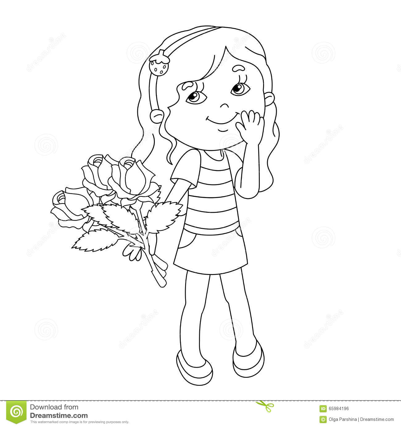 Coloring Page Outline Of Girl With Bouquet Of Roses In Hand Stock ...