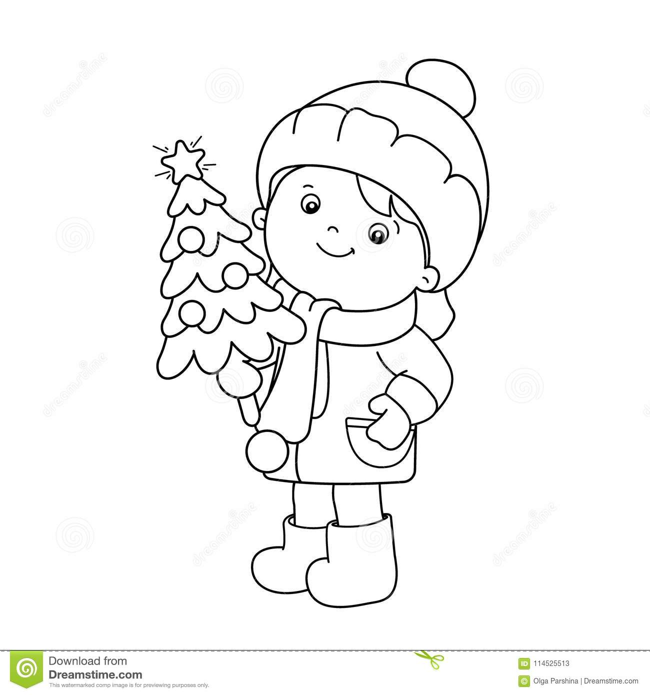 Coloring Page Outline Of Girl With Christmas Tree. Christmas. New ...