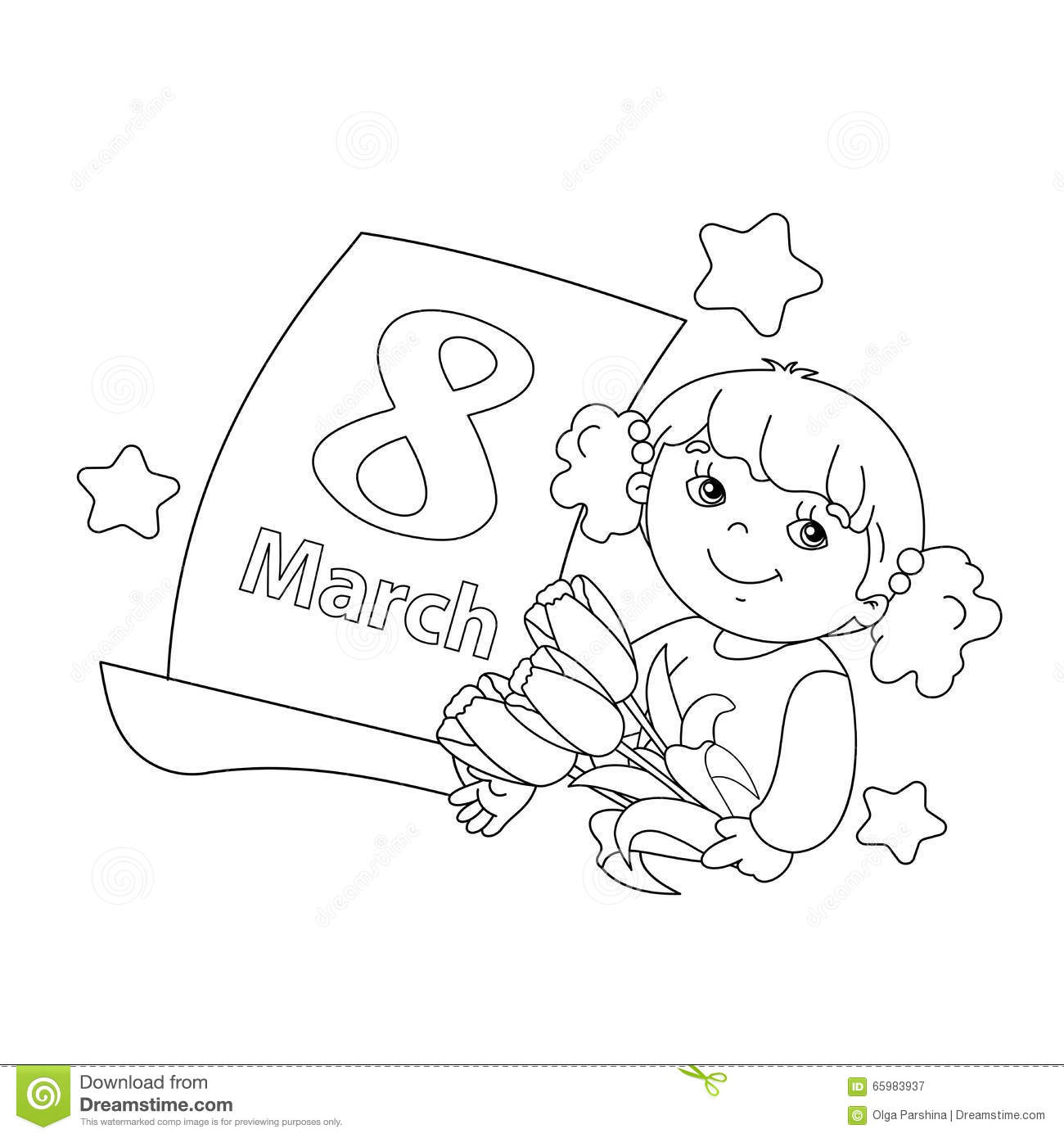 Coloring page outline of girl with flowers with calendar illustration 65983937 megapixl