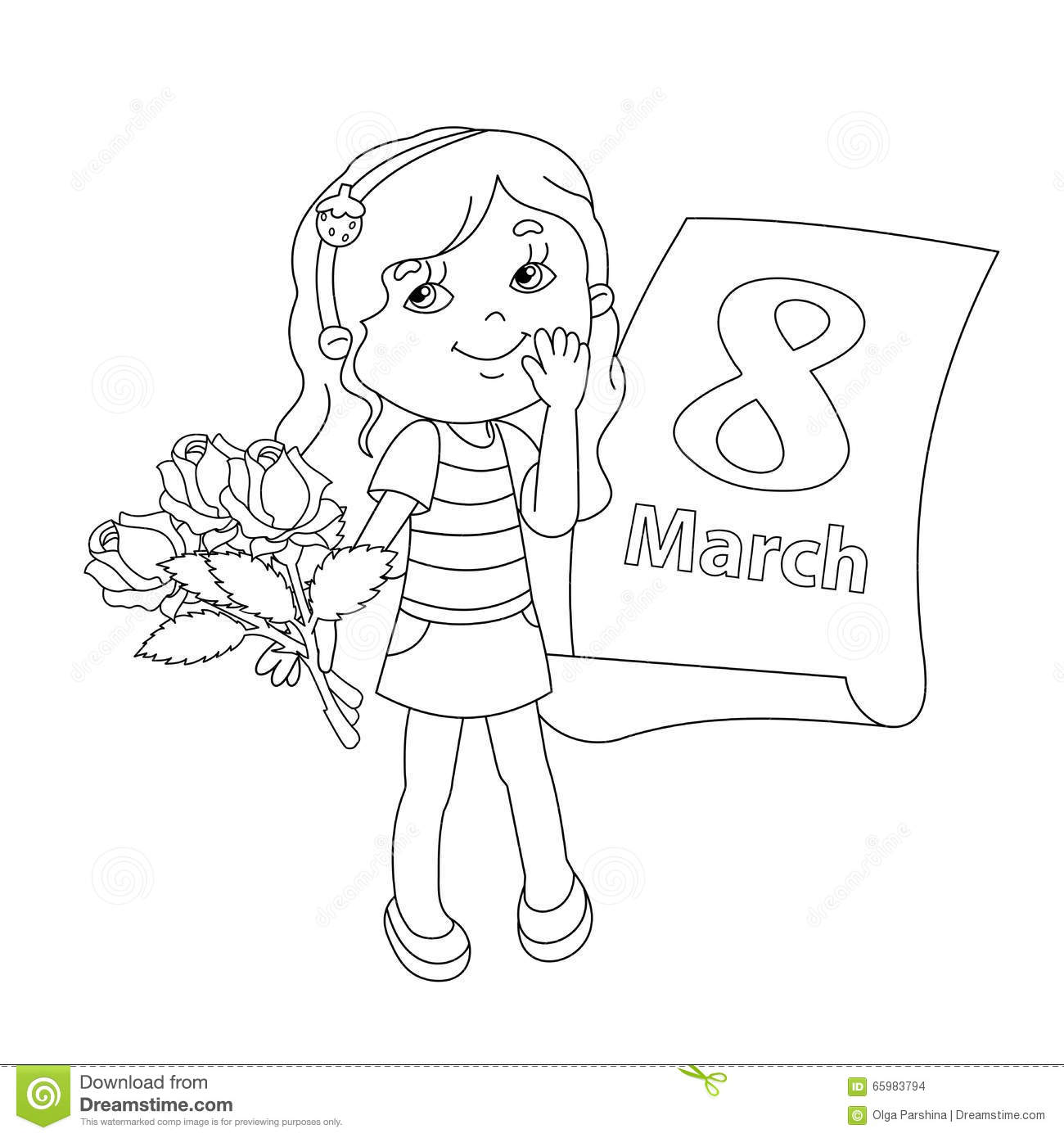 Coloring page outline of girl with flowers march 8
