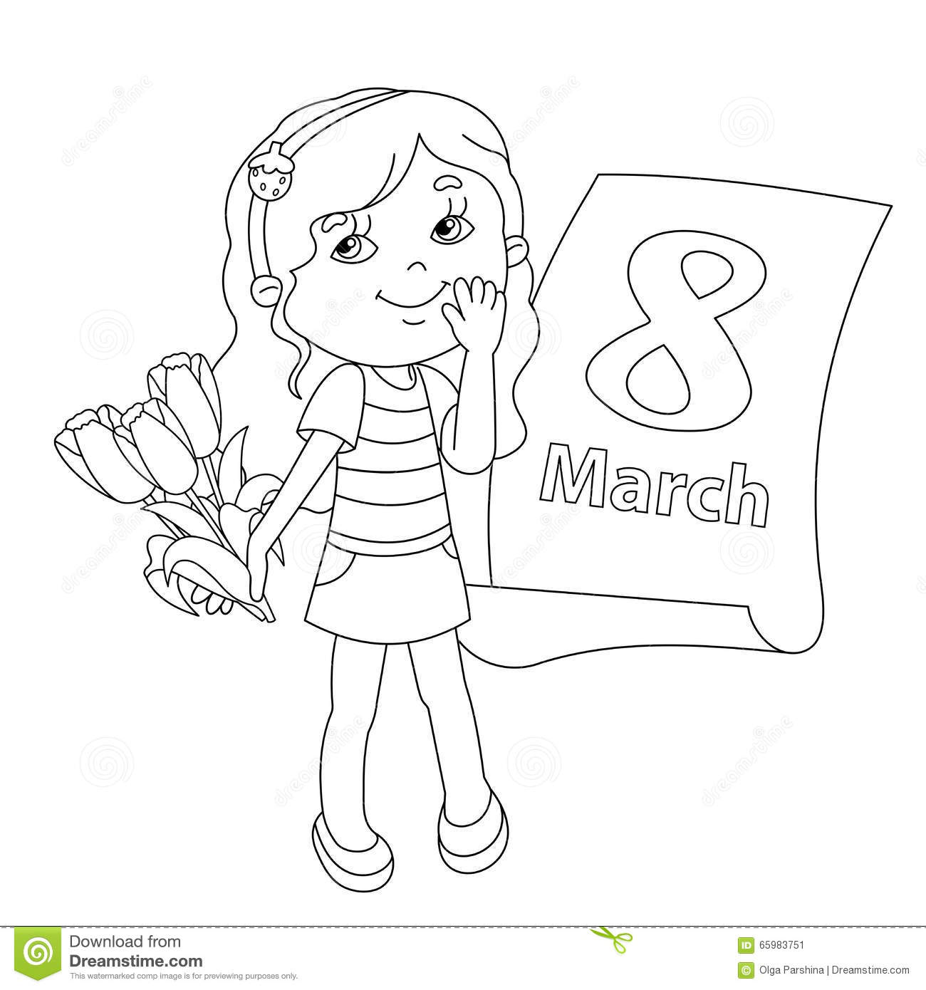 Coloring pages 8 march - Royalty Free Vector
