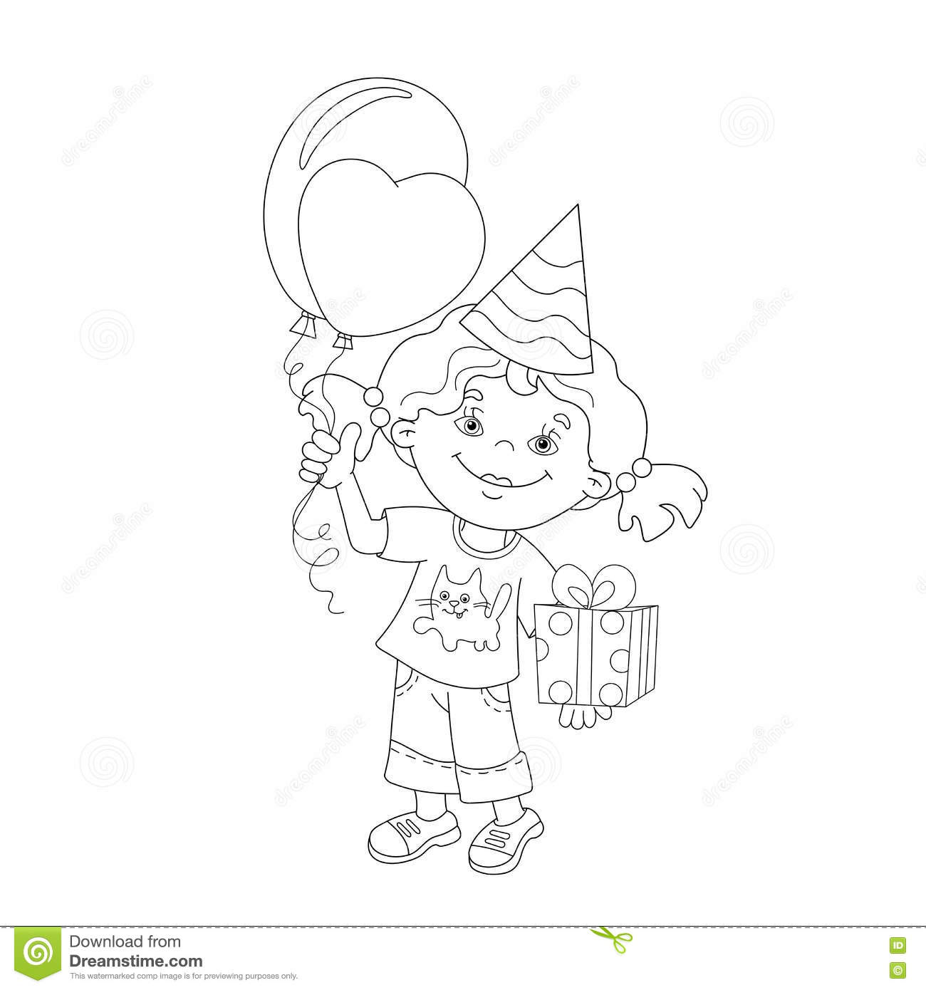 coloring page outline of with gift and balloons stock vector