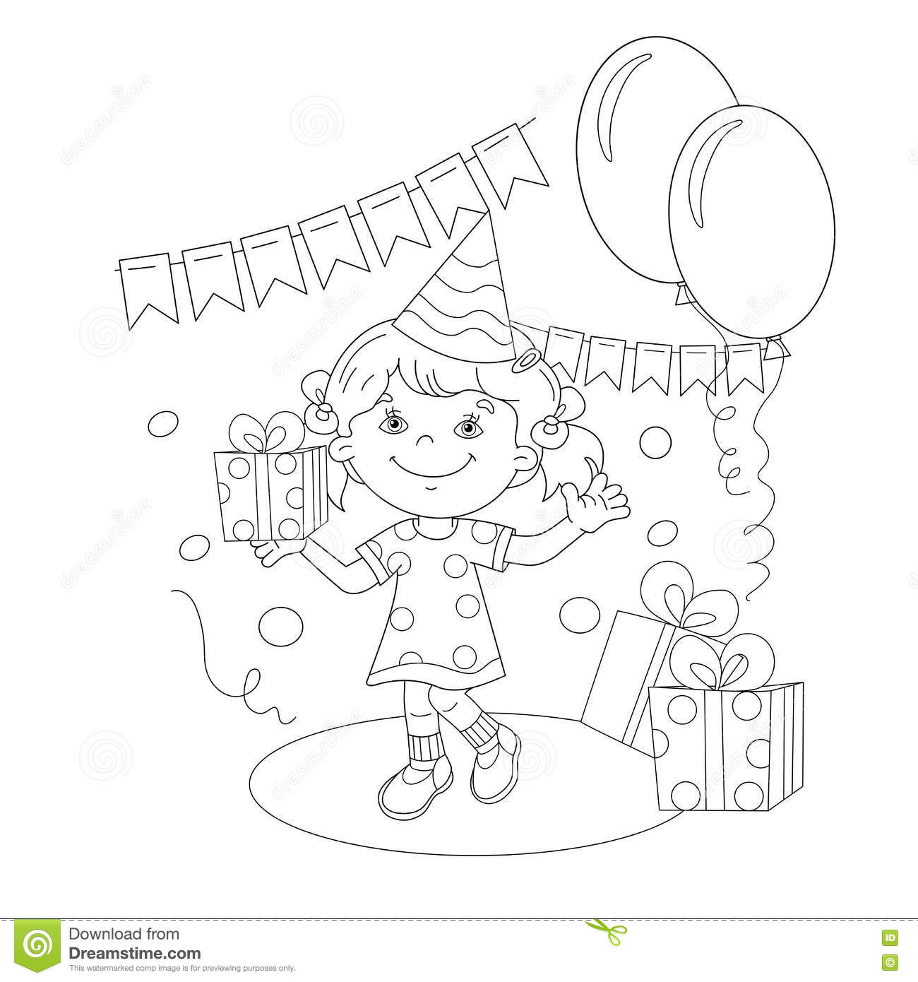 Coloring Page Outline Of Cartoon Girl With A Gift At The Holiday Book For Kids