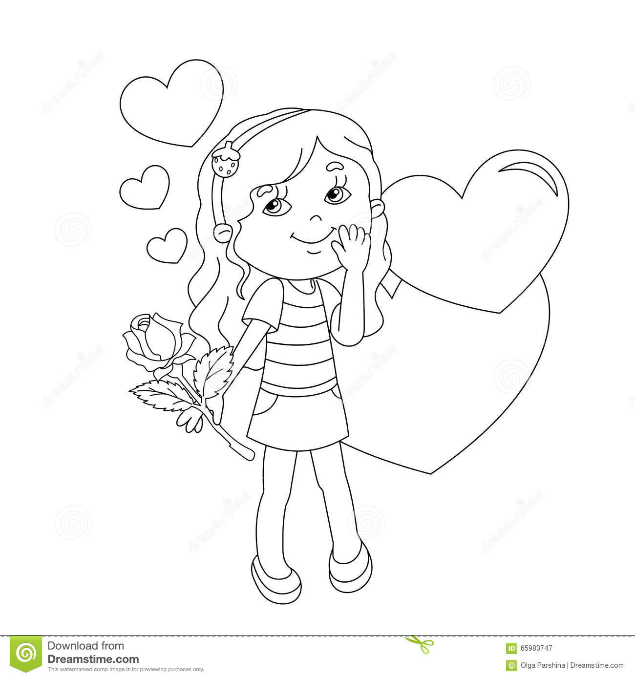 coloring page outline of beautiful with rose stock vector