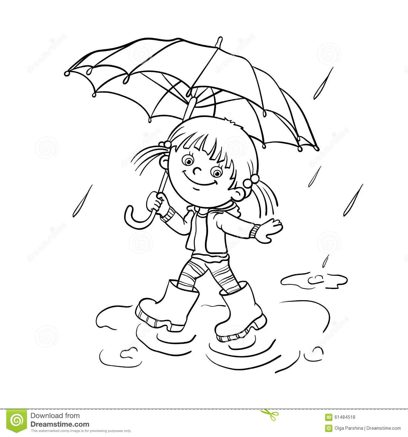 Coloring page umbrella raindrops - Coloring Page Outline Of A Cartoon Joyful Girl Walking In The Rain Download Image Coloring Page Umbrella Raindrops