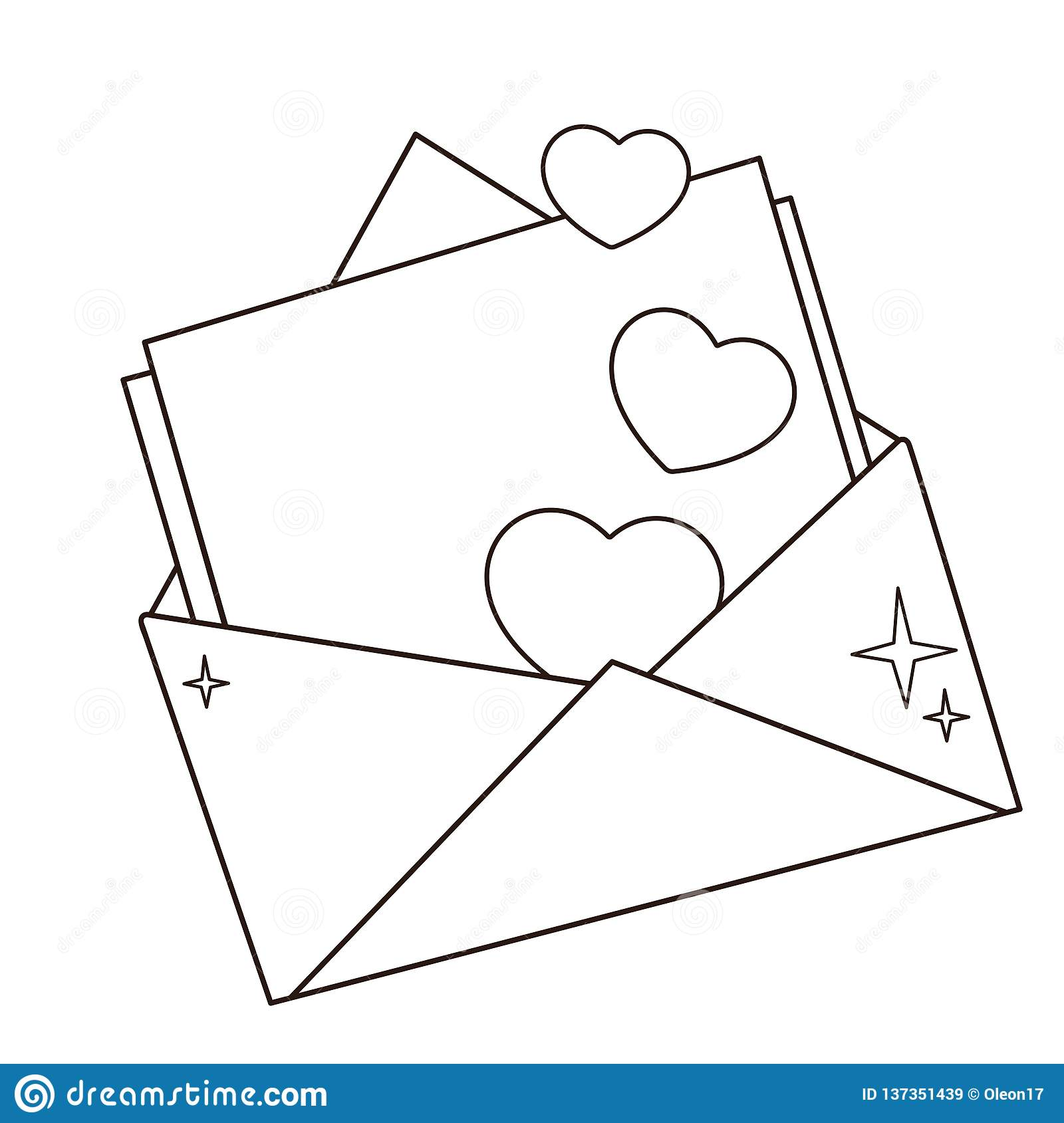 Coloring Page Outline Of Greeting Letter With Hearts Valentine S Day Birthday Coloring Book For Kids Stock Vector Illustration Of Cartoon Envelope 137351439