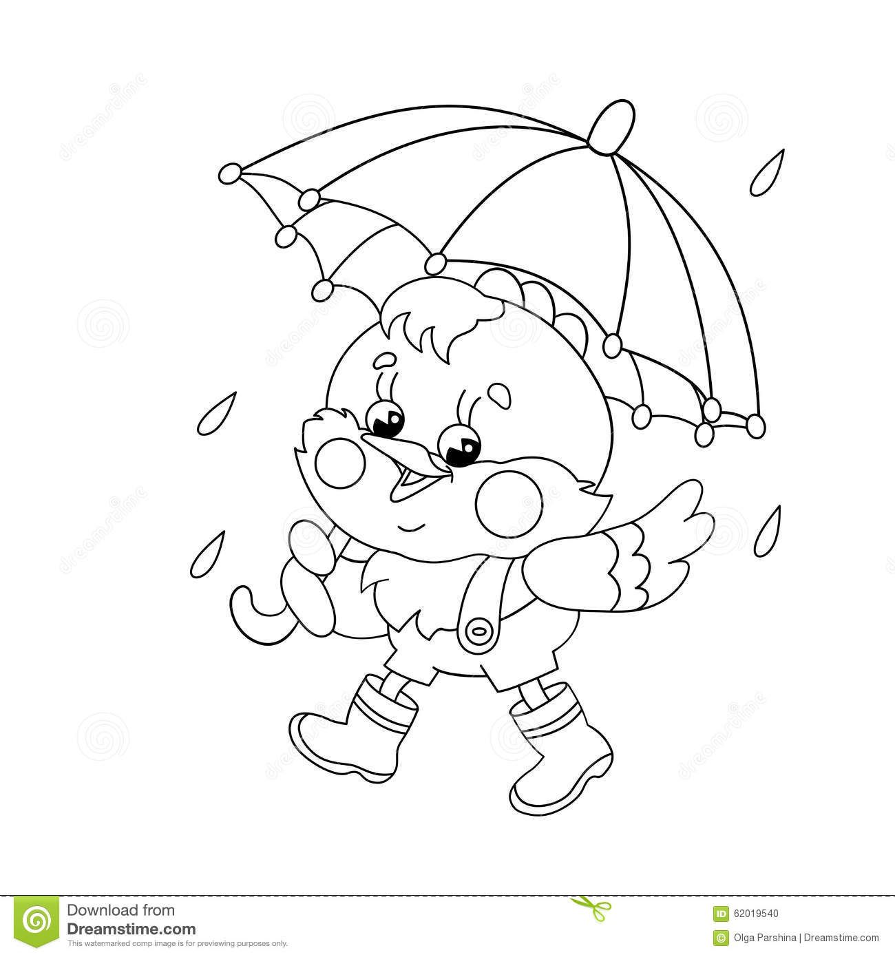 coloring page outline of a happy chicken walking in the rain stock
