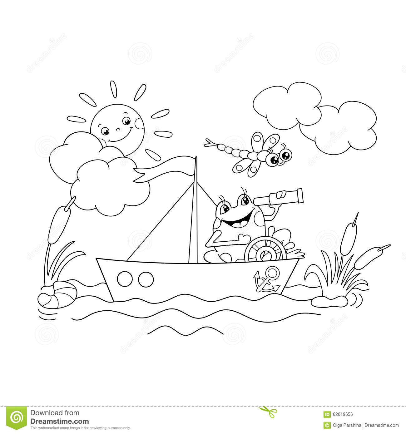 coloring page outline of a jolly frog floating on a boat stock vector