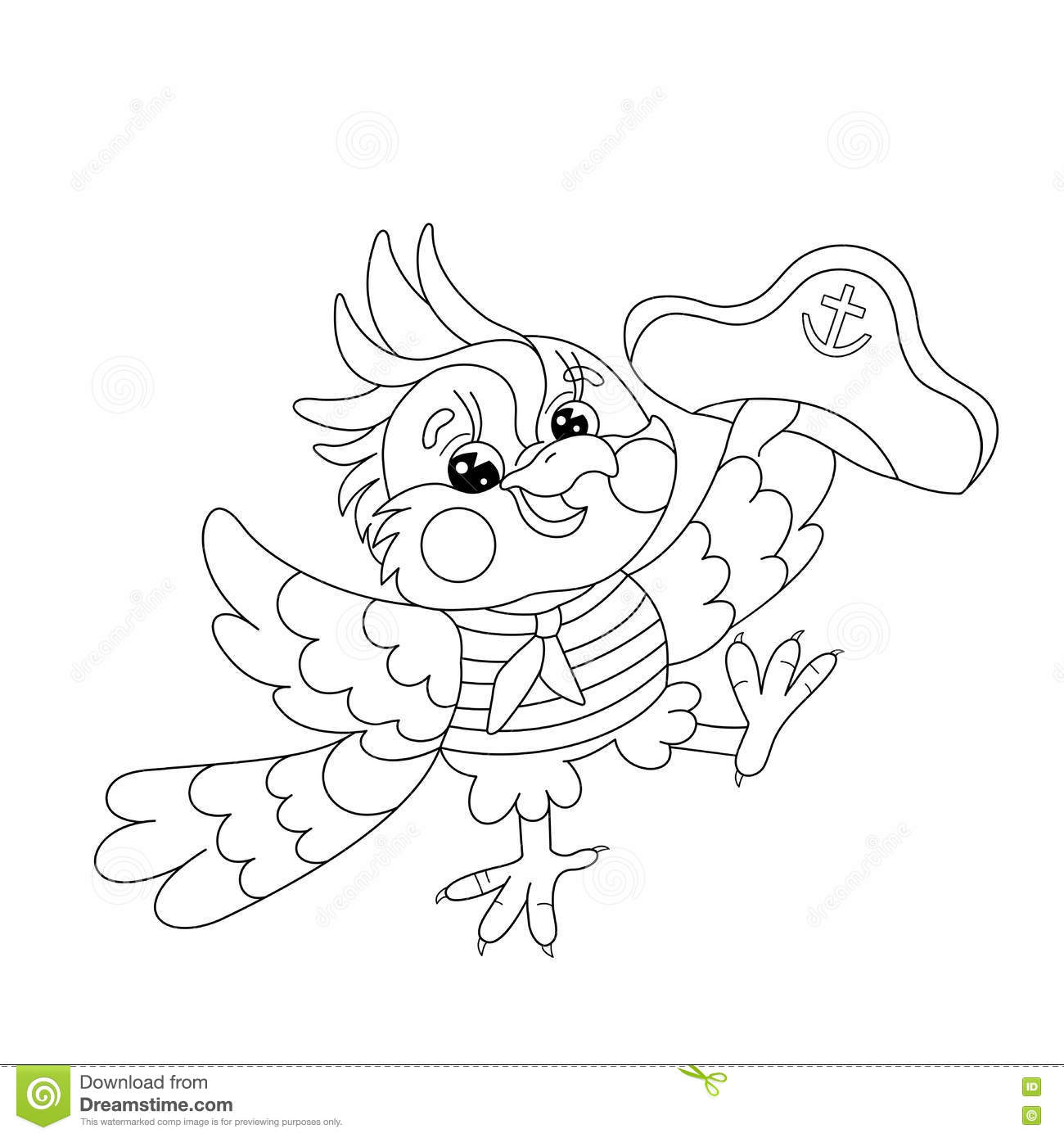 Coloring Page Outline Of Joyful Parrot Sailor Stock Vector