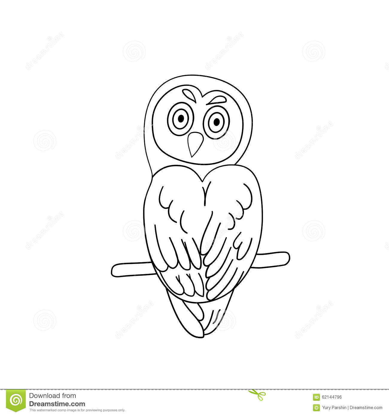 Download Coloring Page Outline Of Owl Stock Illustration