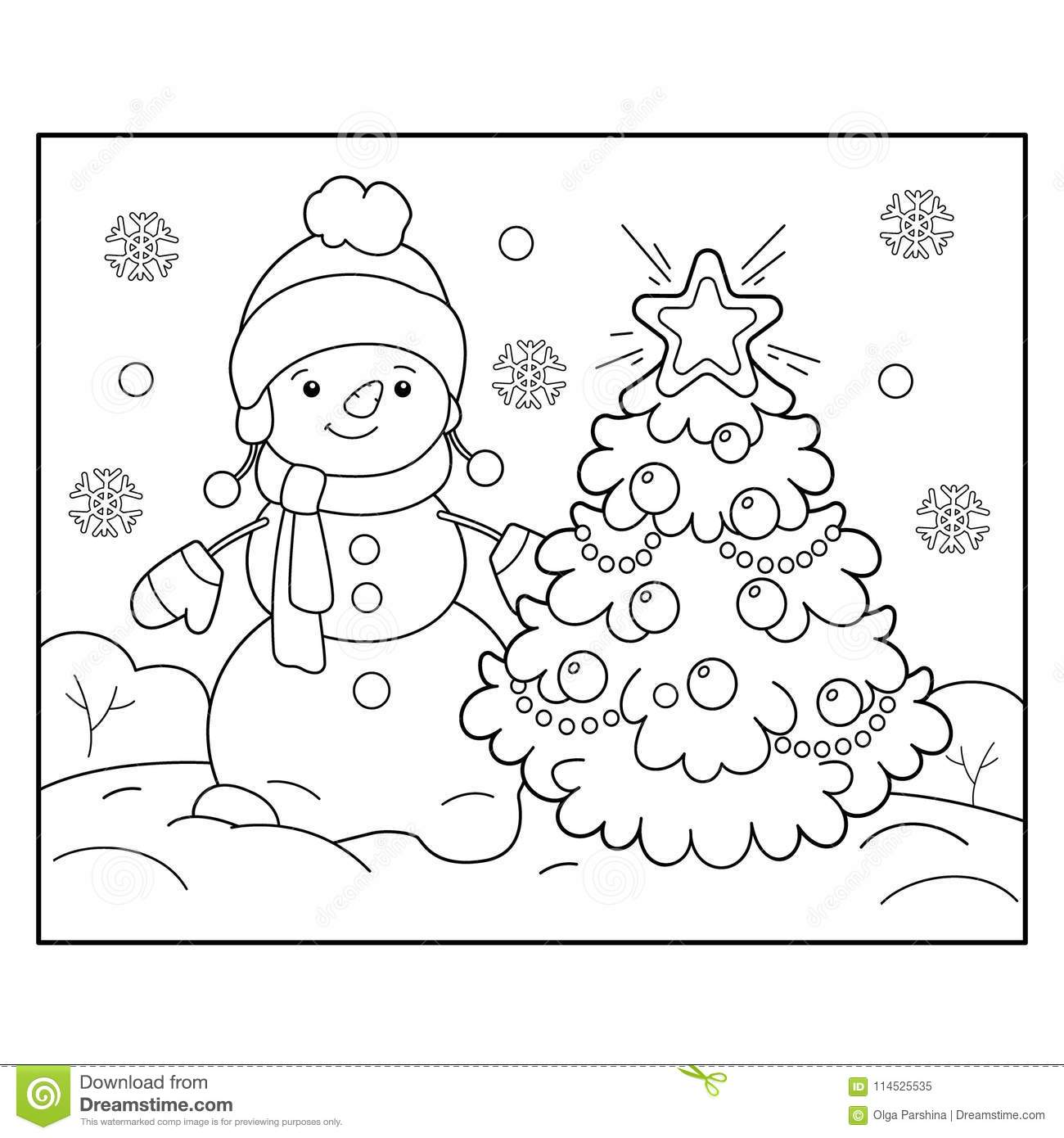 Coloring Page Outline Of Snowman With Christmas Tree ...