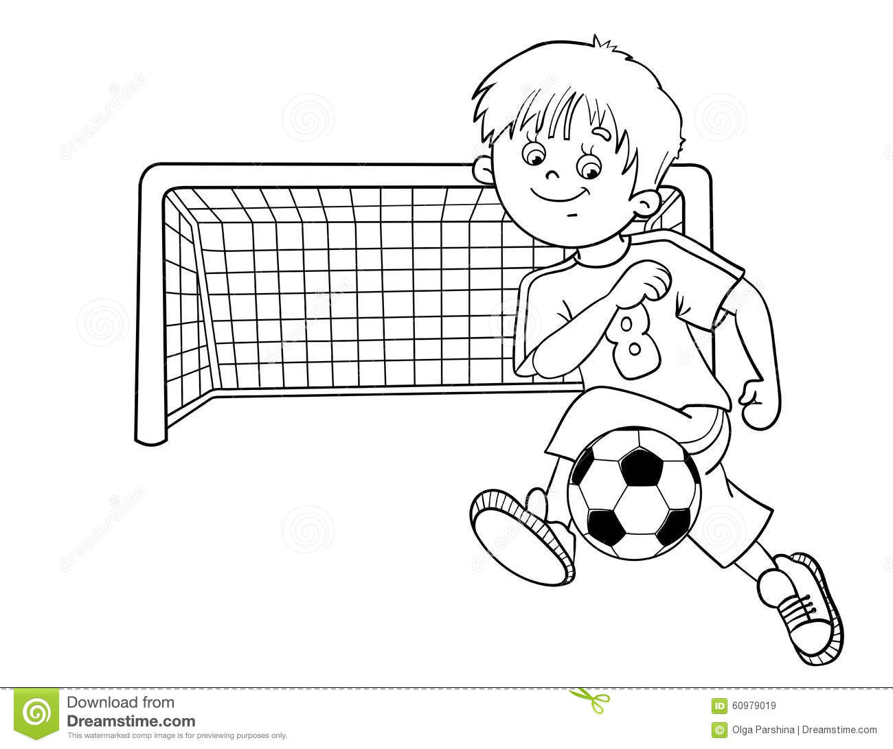 download coloring page outline of a soccer boy stock vector illustration of person exercise