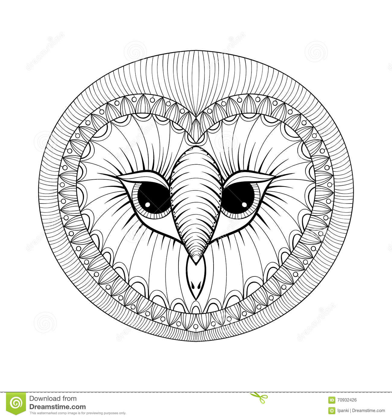 Fr free coloring pages for owls - Coloring Page With Owl Head Zentangle Stylized Hand Drawing Ill Royalty Free Stock Image