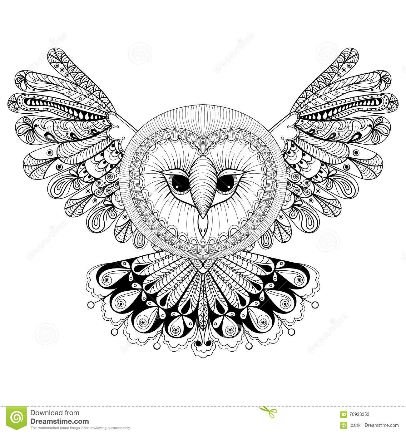 Coloring Page With Owl Zentangle Hand Drawing Illustration Tri Stock Vector Image 70933353