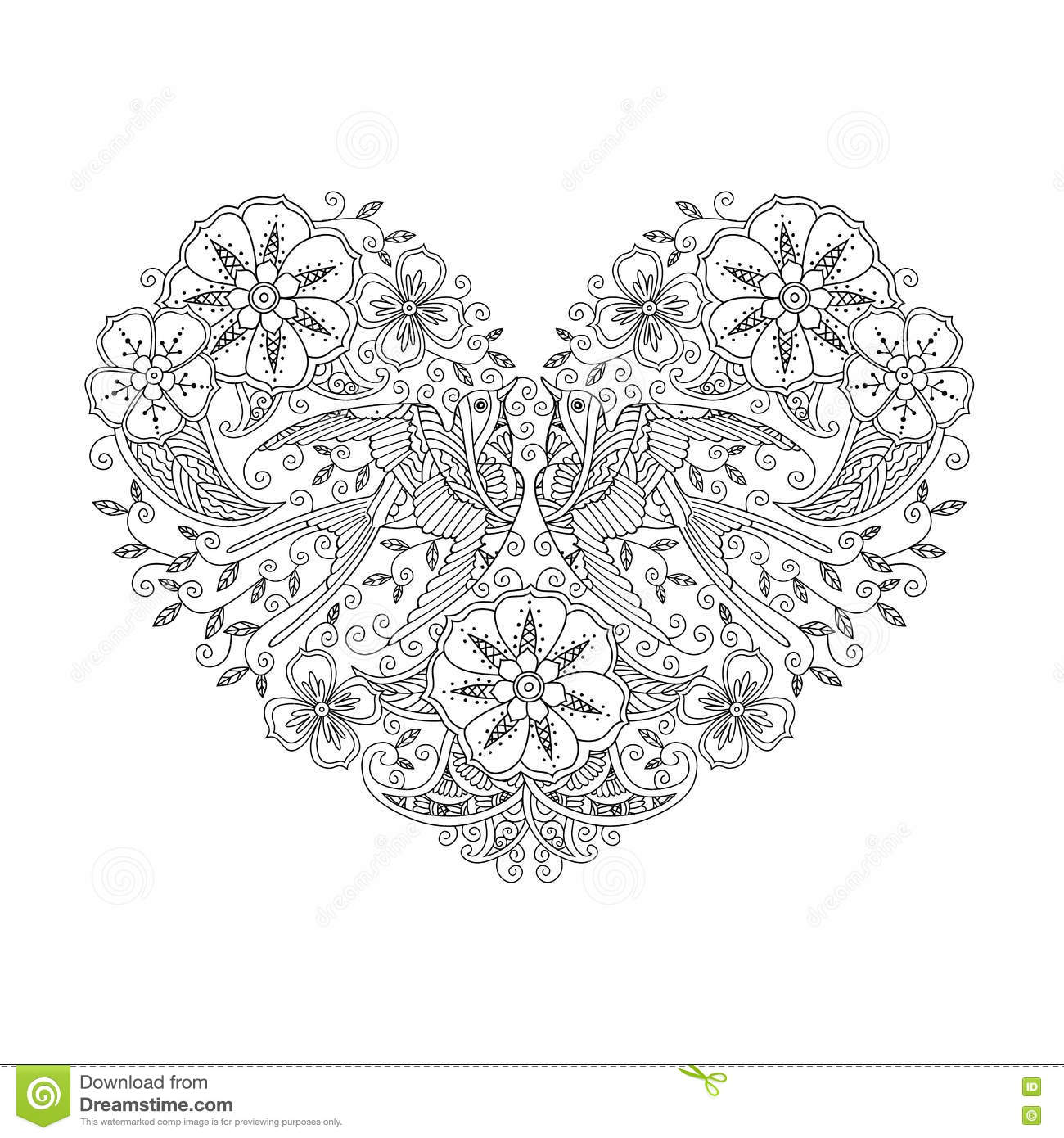 Coloring Page With Pair Of Beautiful Flying Birds In Heart Shape