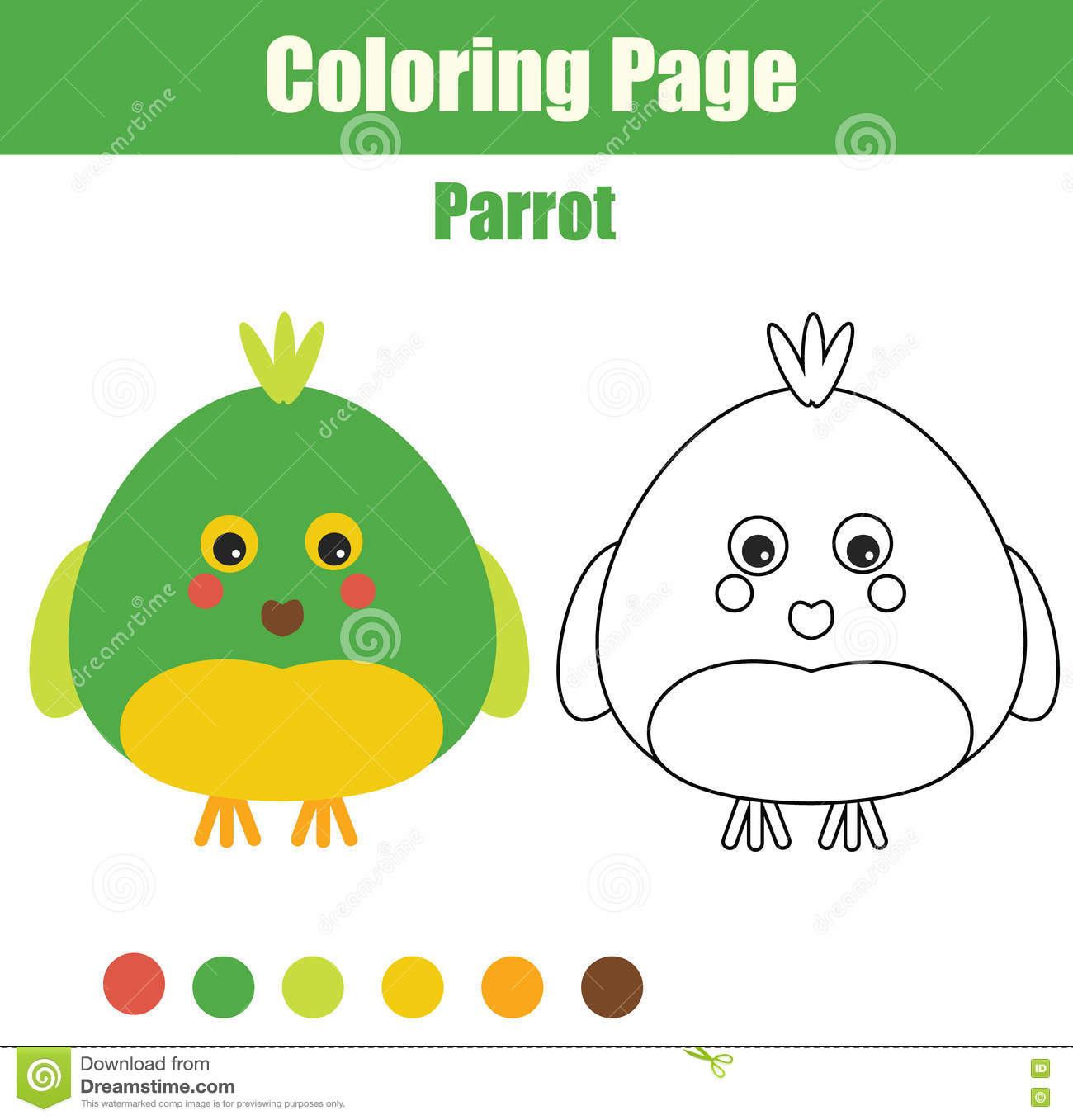 Coloring Page With Parrot. Educational Children Game, Printable ...