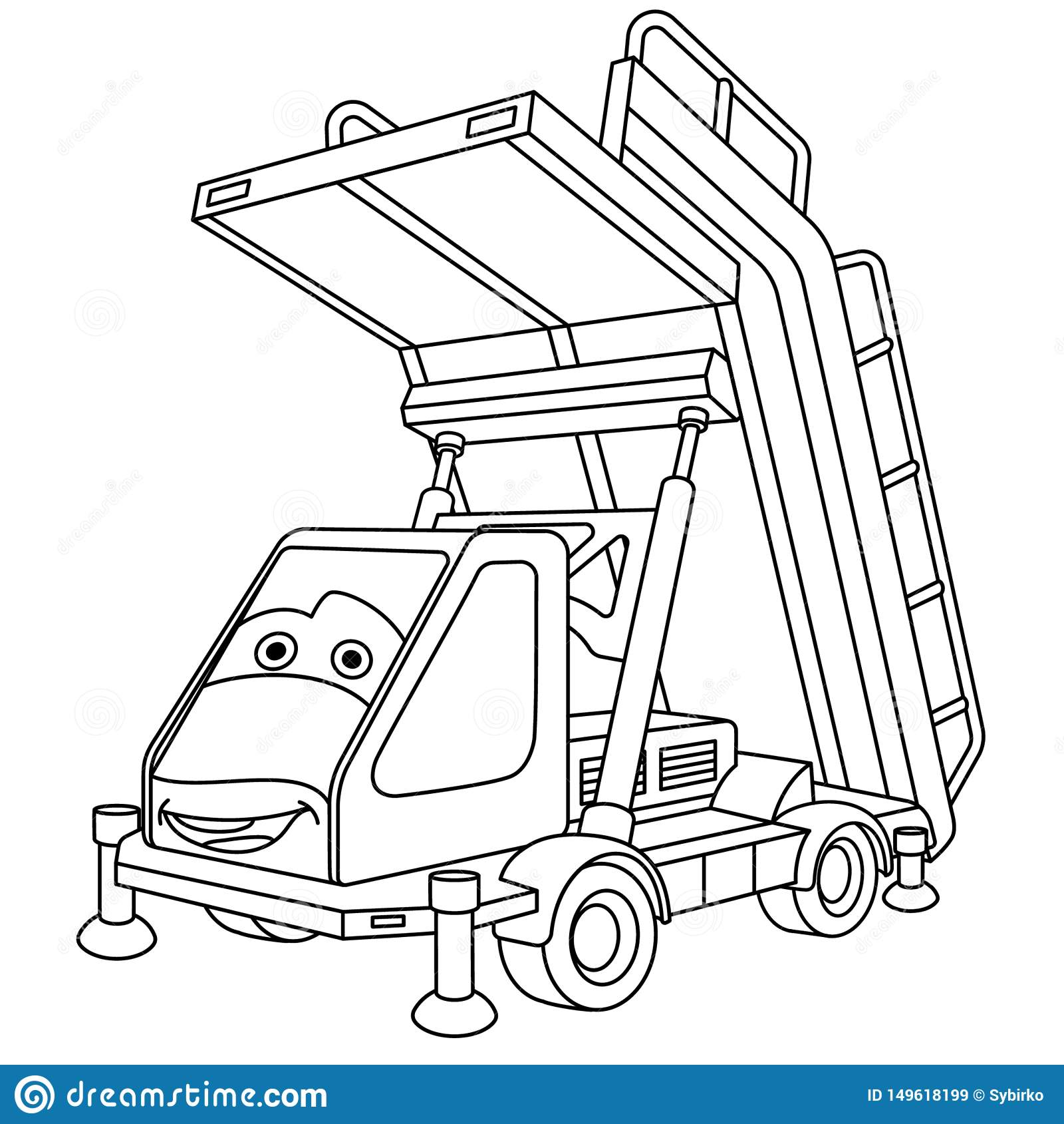 Coloring Page With Passengers Boarding Stairs Car Stock