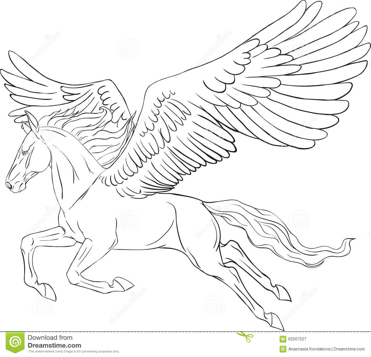 Vector silhouette running pegasus in motion cartoon vector for Coloring pages of pegasus