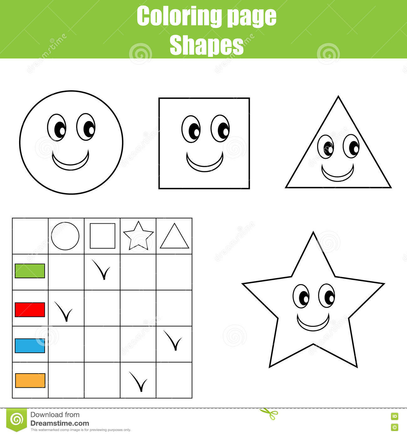 Coloring Page Practice Sheet. Educational Children Game, Kids ...