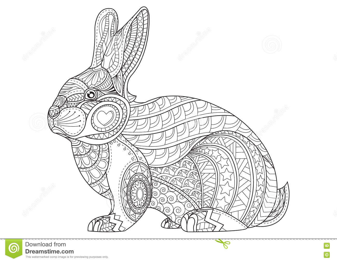 Coloring Page Rabbit. Hand Drawn Vintage Doodle Bunny Vector Stock ...