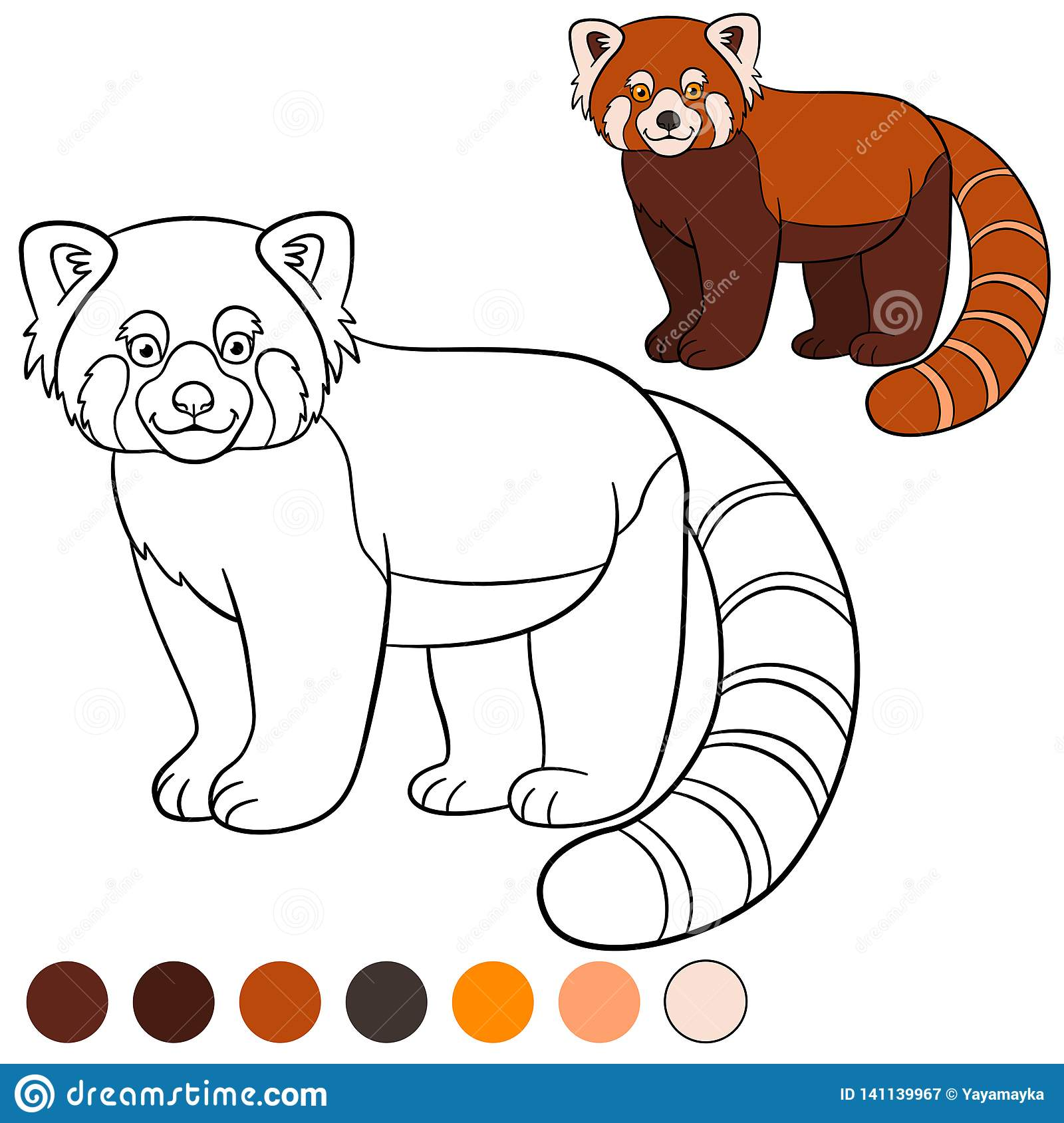 Coloring Page Red Panda Little Cute Red Panda Smiles Stock Vector Illustration Of Kids Contour 141139967