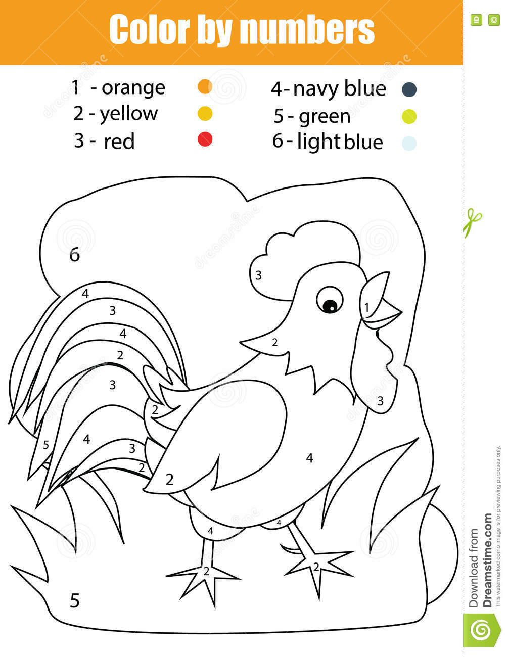 Free coloring pages rooster - Free Coloring Educational Kids Learning Nature Numbers Rooster With Rooster Coloring Pages