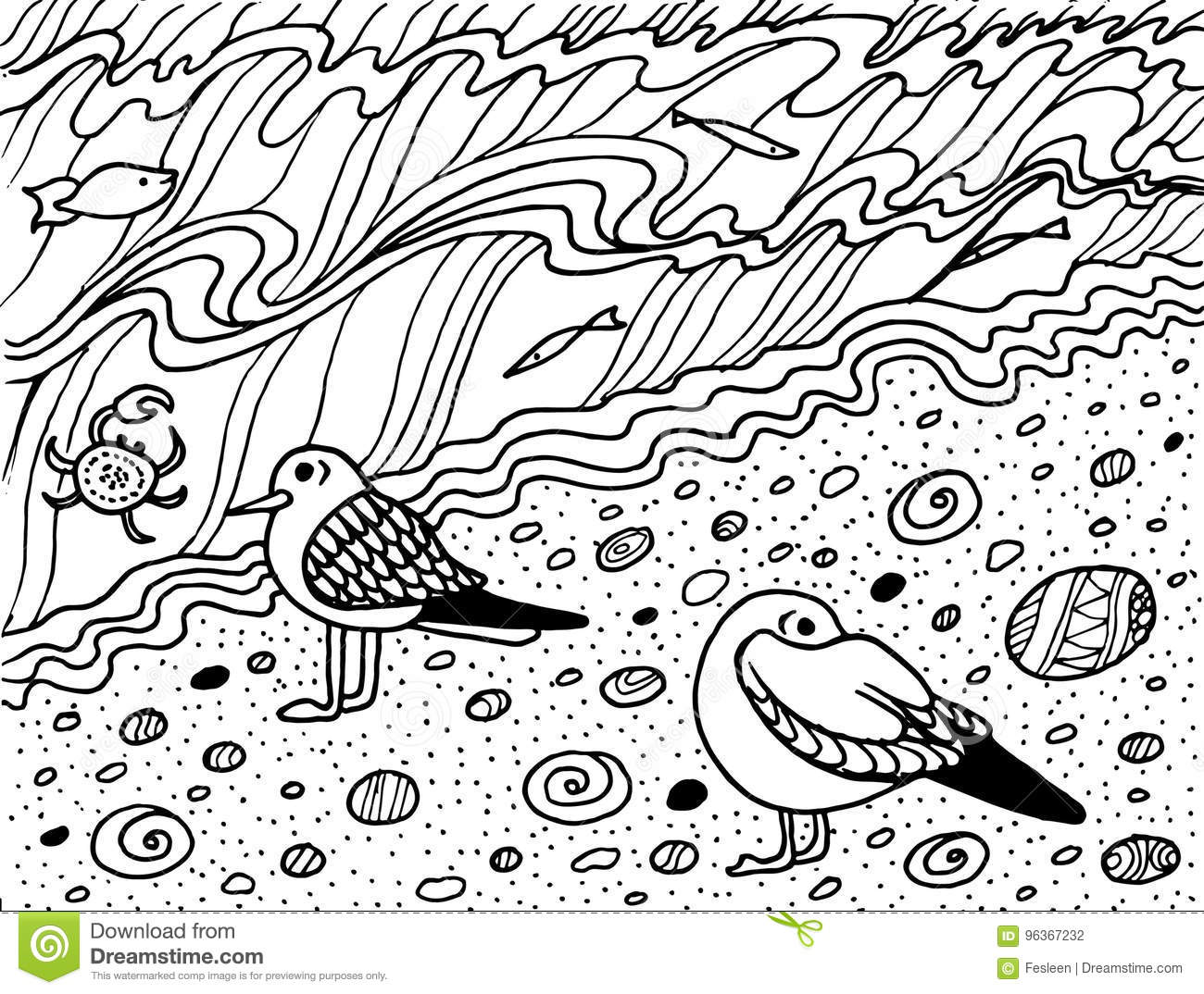 Coloring Page With Seagull And Sea Stock Vector Illustration Of