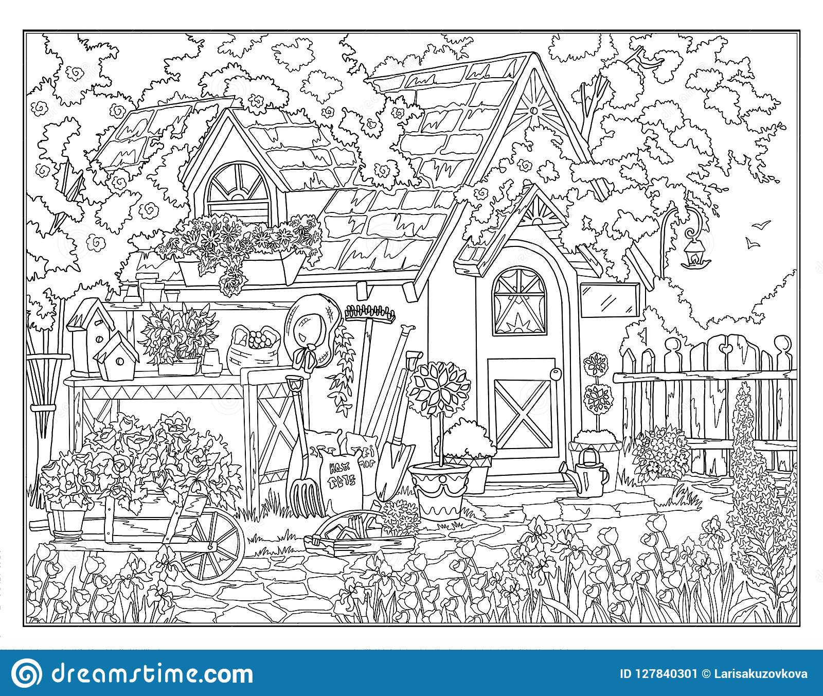 - Coloring Page The Secret Garden Stock Illustration - Illustration