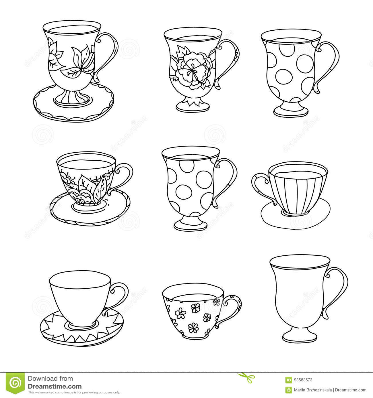 Coloring Page Set Cupcake Ice Cream Tea Pot Cup Stock Vector