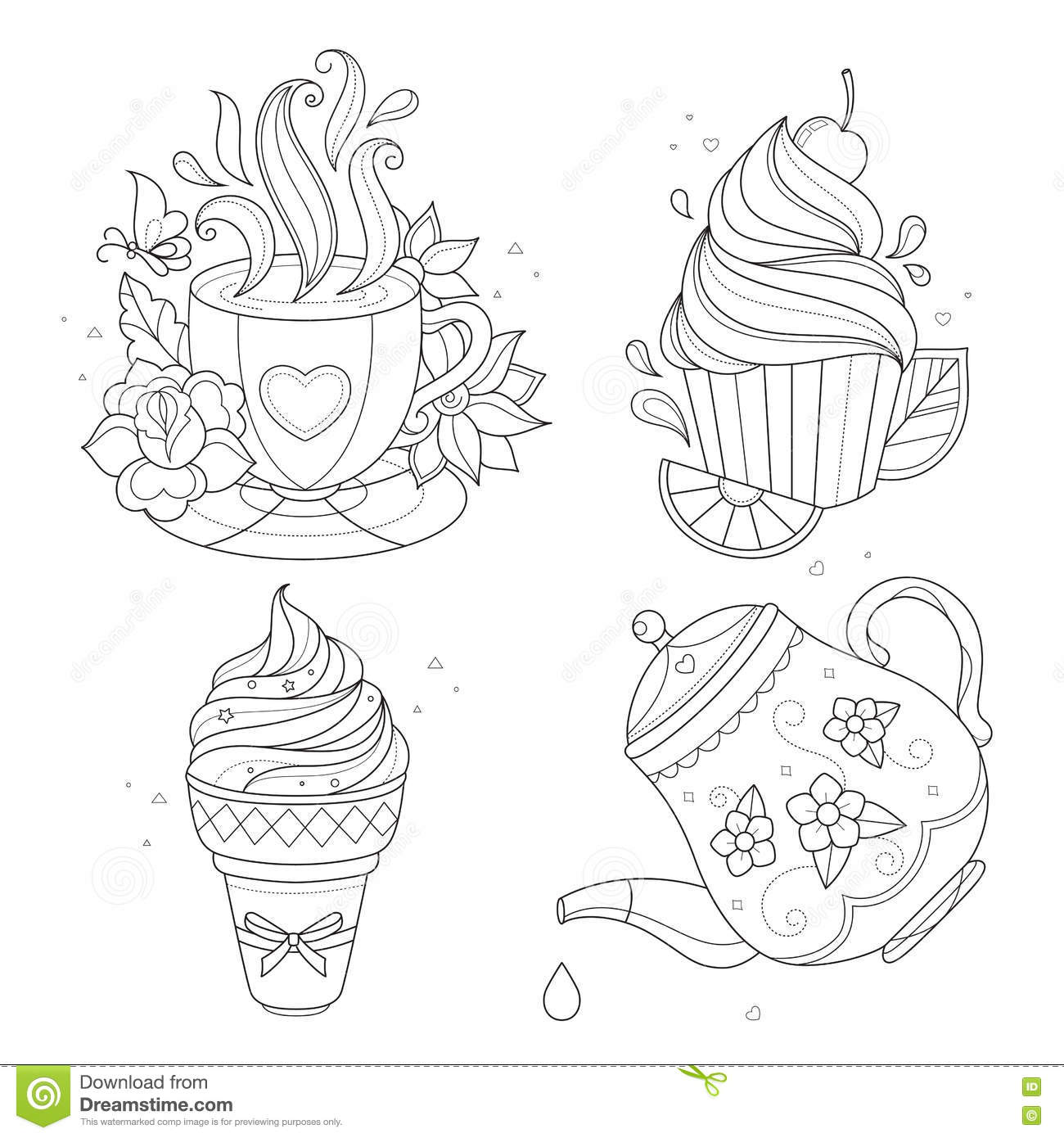 Coloring Page Set Cupcake Ice Cream Tea Pot Cup Stock